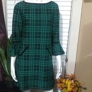 GREEN & BLACK STRIPE DRESS